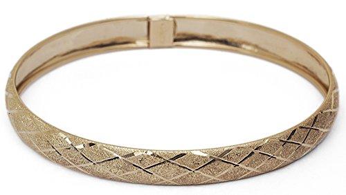 8 Inch 10k Yellow Gold bangle bracelet Flexible Round with Diamond Cut Design - Diamond Design Cut Bracelet Gold