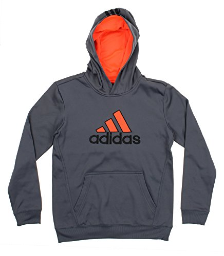 Adidas Embroidered Pullover (Adidas Youth Post Route Athletic Pullover Hoodie,Grey/ Sonic Red)