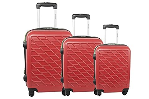 3-piece rigid luggage set PIERRE CARDIN red