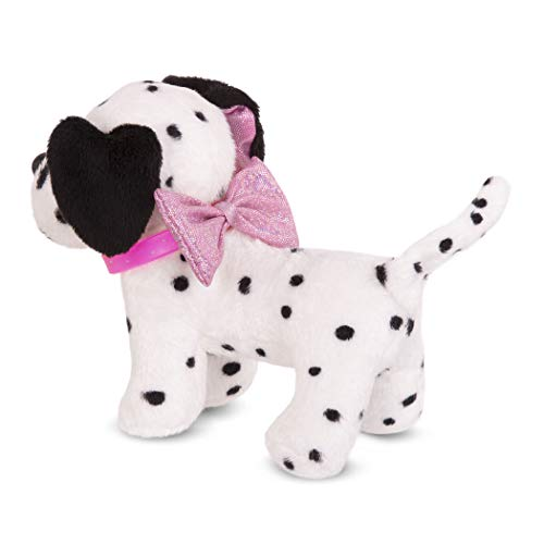 Glitter Girls by Battat – Pepper – Plush Toy Dog – Puppy Pet Accessory for 14-inch Dolls – Toys, Clothes, and Accessories for Girls 3 and up, White, Black (GG57139Z)