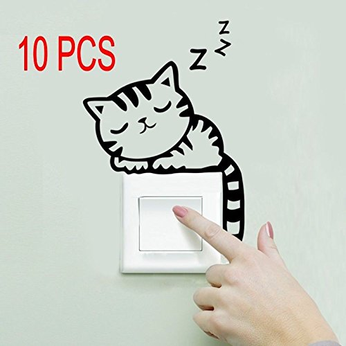 10 PCS Removable Art Vinyl Quote DIY Cats Wall Sticker Decal Mural Home Decor
