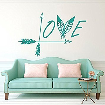 """Wall Decal Decor Arrow Wall Decal Love Vinyl Sticker Decals Feather Wall Decal Indie Boho Bohemian Bedroom Dorm Wall Art Sticker(teal, 15""""h x22""""w)"""