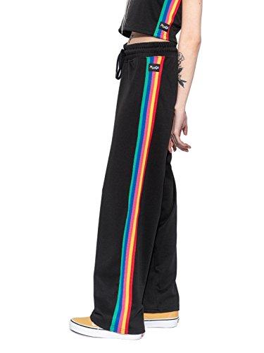 Minga London Rainbow Stripe Track Pants Black Trim Joggers Tumblr Grunge Retro 90s Festival