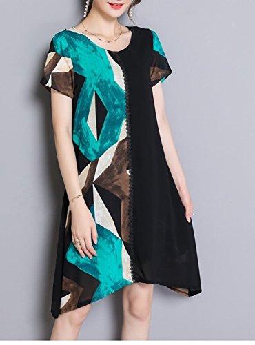 Carolbar Taille Plus Des Femmes Robe De Couleurs Assorties Midi Date De Confort Bleu-vert