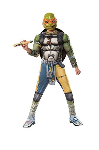 Rubie's Costume Kids Teenage Mutant Ninja Turtles 2 Deluxe Michelangelo Costume, Medium