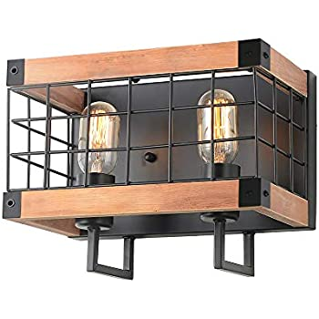 Anmytek Rectangle Wood Wall Lamp with Iron Mesh Cover Industrial Wall Sconce Black Finish Vintage Stylish Bathroom Lighting Log Cabin Home Retro Edison ...