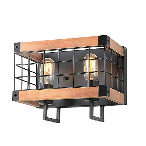 Anmytek Rectangle Wood Wall Lamp with Iron Mesh Cover Industrial Wall Sconce Black Finish Vintage Stylish Bathroom Lighting Log Cabin Home Retro Edison Sconce Lighting Fixtures 2-Lights (W0044)
