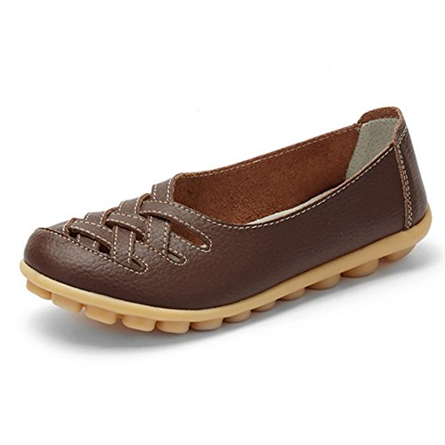 Womens-Leather-Loafer-Casual-Flat-Shoes-Rubber-Sole-Shoes