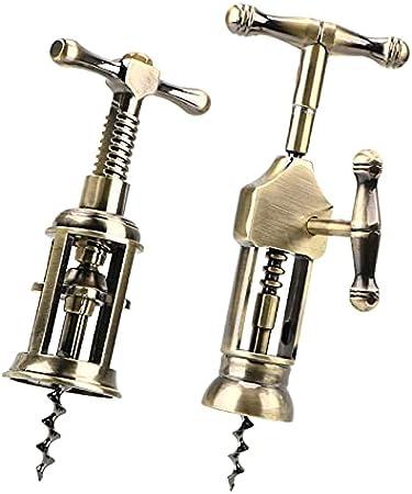 Aleación de zinc vino de corcho sacacorchos de corcho herramienta de barra retro estilo de alta calidad jardín de alta calidad sacacorchos gadget rack piñón sacacorchos (Color : A)