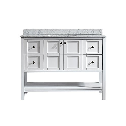 Vinnova 713048-WH-CA-NM Florence 48' Vanity in White with Carrera White Marble Countertop without Mirror