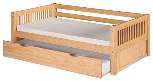Camaflexi Mission Style Solid Wood Day Bed with Trundle, Twin, Natural (Mission Daybed Frame)