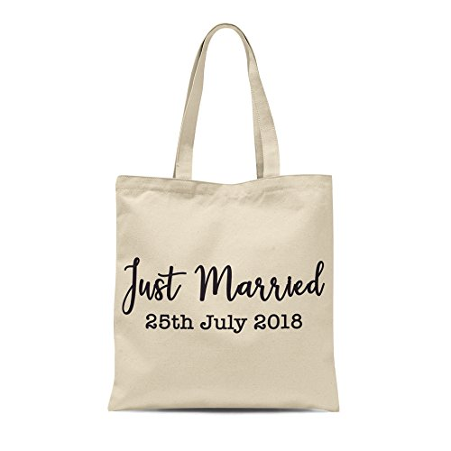 Hers Tote Black Bride His Honeymoon Date Natural Groom Personalised Just Print With Married Wedding Bag OqnzEwp