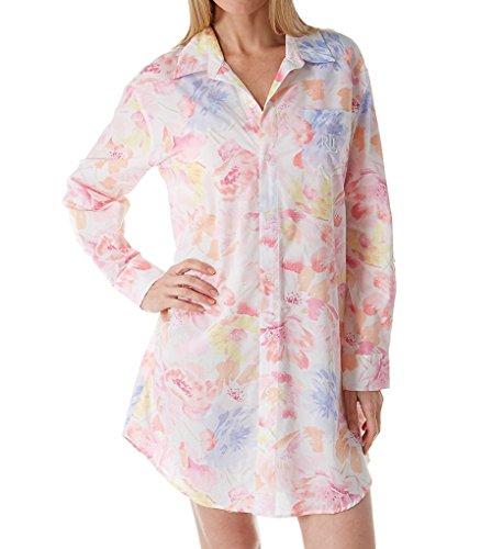 - LAUREN RALPH LAUREN Women's Long Sleeve Roll Tab His Shirt Sleepshirt White Multi Floral Large