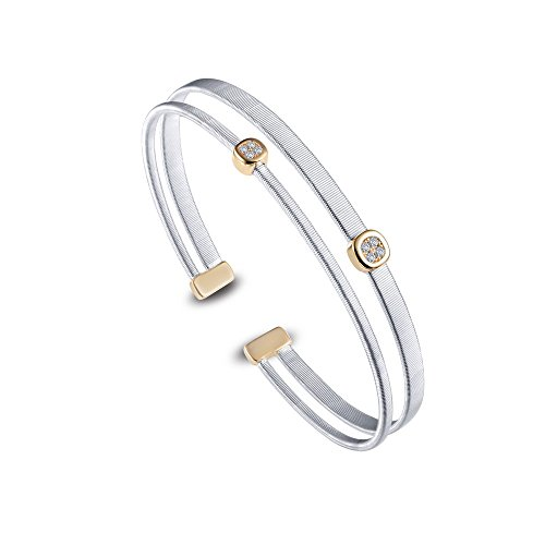 Lafonn Milano Sterling Silver 2-Tone Plated Simulated Diamond Bracelet (0.08 CTTW) ()