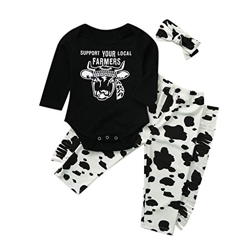 A-White, 6-12 Months Newborn Baby Girl Boy Cotton Cartoon Pajamas Outfit Clothes 3pcs Milk Cow Print Romper Jumpsuit Loose Casual Pants Bow Headband