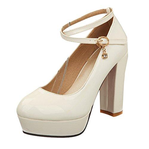 YE Damen Knöchelriemchen Lack Rote Sohle Plateau Chunky High 10cm Heels Pumps mit Blockabsatz Schnalle Schuhe Weiß