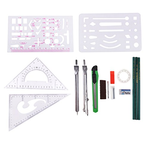 MagiDeal 16 Pieces/set Drawing Compass Measuring Set Architectural Engineering Drafting Tools Drawing Templates & Pencils Students Stationery Kit