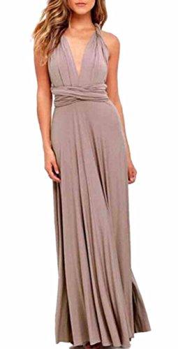 Sexyshine Women's Backless Gown Dress Multi-Way Wrap Halter Cocktail Dress Bandage Bridesmaid Long Dress (KH,S) - Dress Multi Womens