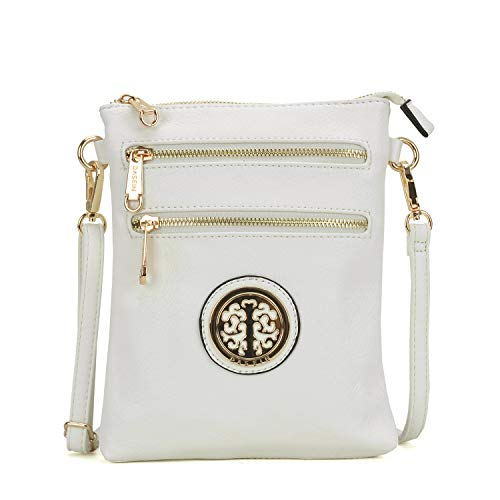 (Classic Multi Pocket Crossbody Bag Messenger Bag Lightweight Shoulder Bag Functional Purse (White))