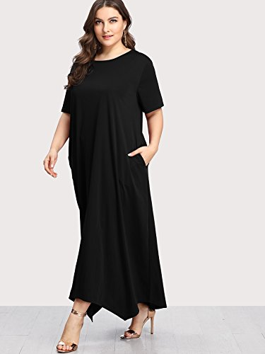 Short Solid plus Long Size Black Dress Women's Sleeve Party Romwe Pocket Loose Maxi Eq5PxSwn