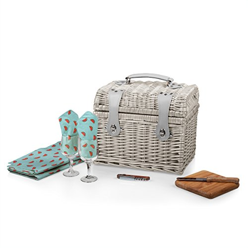 Watermelon Picnic Basket - PICNIC TIME 'Napa' Picnic Basket with Wine and Cheese Service for Two, Watermelon Collection