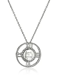 "Sterling Silver Diamond ""Love Is Timeless"" Clock Pendant Necklace"