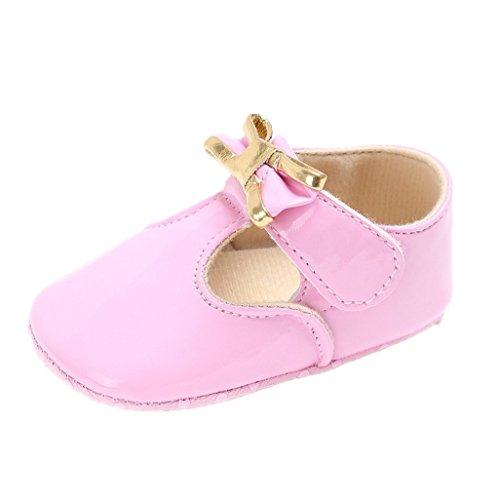 Primeros zapatos para caminar,Auxma Zapatos de Bowknot del bebé Zapatillas de deporte del niño Zapatos ocasionales de los zapatos de cuero suaves de los zapatos Rosado