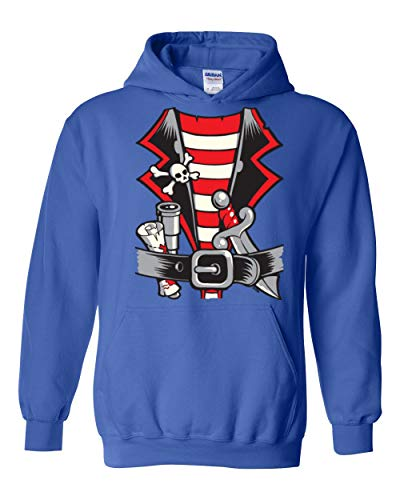Pirate Birthday Party Halloween Costume Idea Jolly Roger Skull Crossbones Unisex Hoodie (XLRB) Royal Blue -