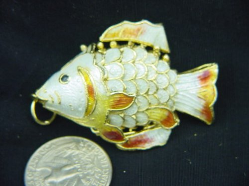 White Cloisonne Articulated Fish Enameled (Cloisonne Fish compare prices)