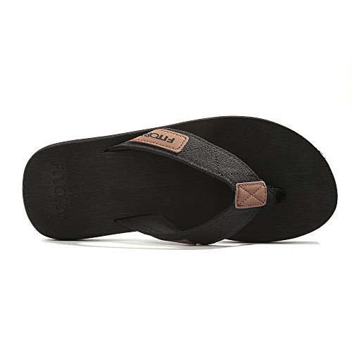 Fitory Chanclas Para Hombres Arch Support Thongs Comfort Slippers Para Beach Size 7-13 Black