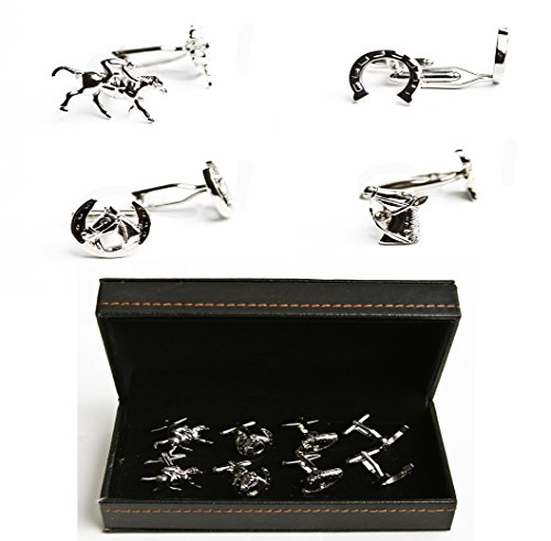 MRCUFF Horse Jockey Horseshoe Bridle 4 Pairs Cufflinks in a Presentation Gift Box & Polishing Cloth from MRCUFF
