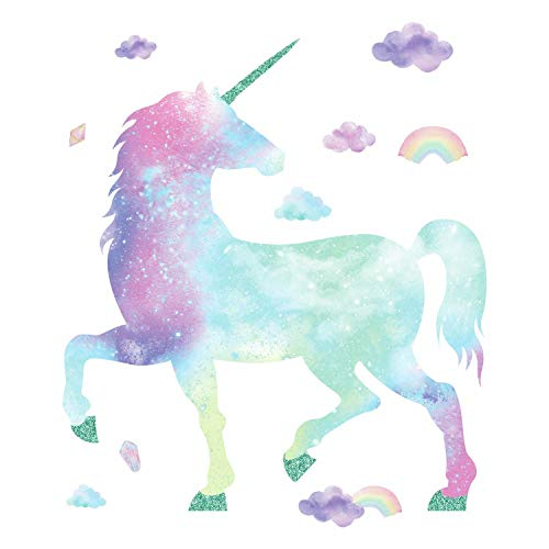 RoomMates Galaxy Unicorn Peel And Stick Giant Wall Decal With Glitter by RoomMates (Image #1)