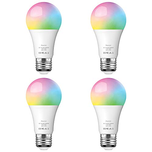 Aoycocr Smart Bulb, Dimmable E26 LED Light Bulb Compatible with Amazon Alexa Google Home Assistant and IFTTT, No Hub Require, Wi-Fi, 75W Equivalent, A19 RGB Multicolor Bulb 7.5W, 4 Pack