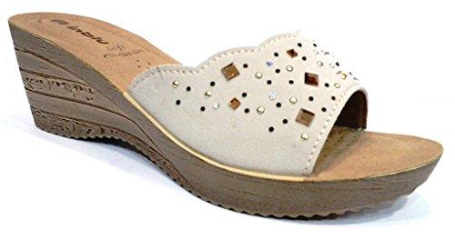 INBLU - Sandalias de vestir de piel sintética para mujer beige hielo 36