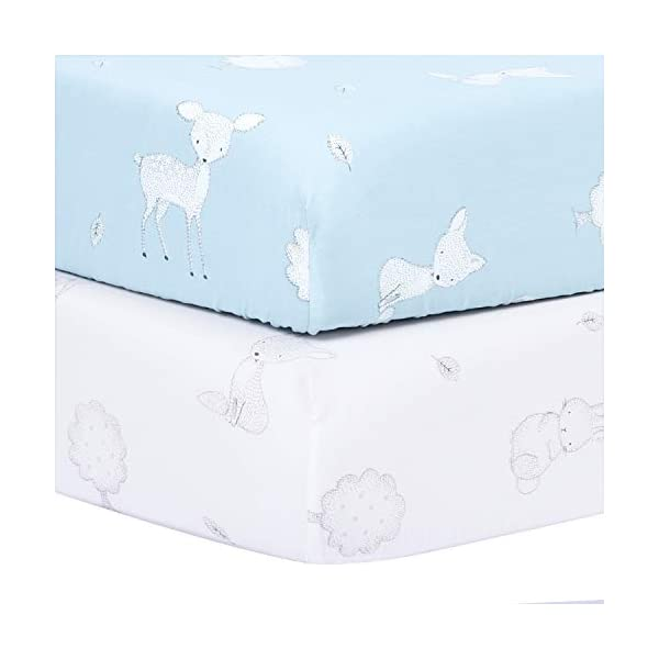 TILLYOU Bamboo Crib Sheets Set Woodland, Printed Toddler Bed Sheets for Baby Girls and Boys, Hypoallergenic Soft Breathable, 28″x52″, 2 Pack Fairy Messenger (Blue & White)