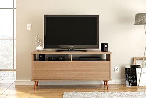 Boahaus 60'' TV Stand, 1 door, two compartments, 2 open shelves, Brown by Boahaus