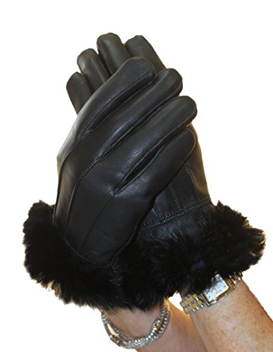 Genuine Lamb Leather Gloves with Rabbit Fur Trim (L, Black) by Henig Furs