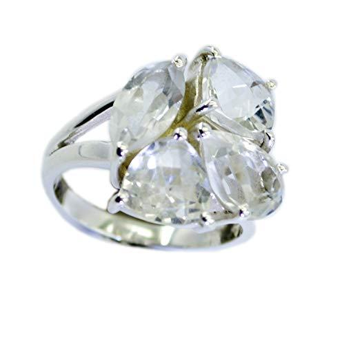 (Designer 925 Sterling Silver Attractive Genuine White Ring, Crystal Quartz White Stone Silver Ring)
