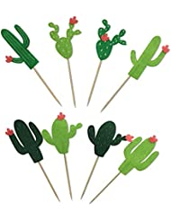 Cactus Cacti Cake Cupcake Toppers for Wedding Birthday Baby Shower Hawaii Laua Party Decorations 24 PCS