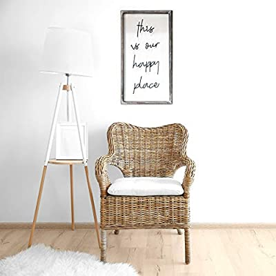 """Barnyard Designs This is Our Happy Place Wall Sign, Rustic Decorative Hanging Wood Sign Home Decor 30"""" x 16.5"""""""