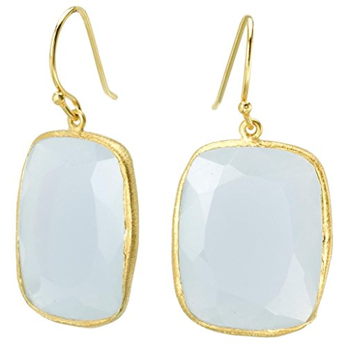 18k Gold over 925 Silver Rectangle Blue Chalcedony Earrings -