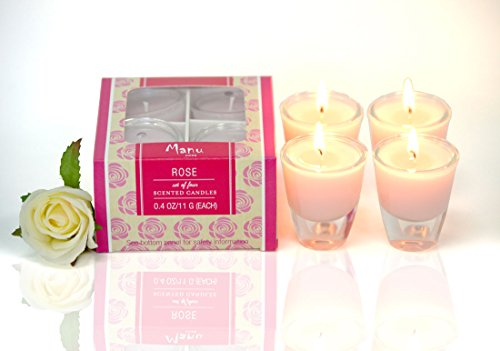 Manu Home Rose Aromatherapy Candle in 4 pack Gift Box~ Natural Wax blend ~ Each candle is 2 inches (Rose Aromatherapy Candles)
