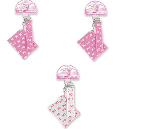 Pink Ribbon Coin Wristlets ~ 3pk Assorted ~ October Breast Cancer Awareness Month ~ Great for Cash/ID/Credit (Pink Ribbon Coin)