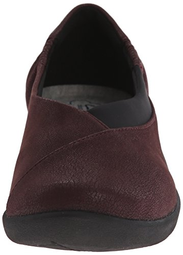 Clarks Women's Sillian Jetay Flat, Burgundy Synthetic Nubuck, 6 M US Burgundy Synthetic Nubuck