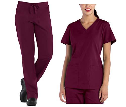 Tru Scrubs Ladies V-Neck Top & Drawstring Half Elastic Pant Scrub Set (Medium Tall, Wine)
