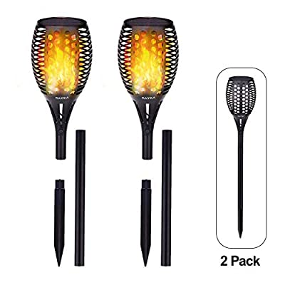 BAYKA Solar Lights Outdoor, Waterproof Flickering Flame Solar Powered Torch Lights for Garden Pathway, Bi-Mode Brightness Adjustable Dusk to Dawn Auto On/Off Landscape Light