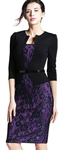 B237 Femme 3 One Noir Violet Color Manches Business Robe HOMEYEE Dentelle Block pice 4 Moulante aqPZgwxT