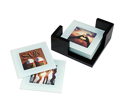 Kiera Grace Glass Picture Coaster with Wooden Holder Set, 3.75 Inch by 3.75 Inch, Set of 6 -