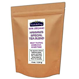 Hannah's Special Premium 5 TEA BLEND 7 100% Organic signature blend of 5 different teas for flavor and benefits 4oz packet - 60 servings The secret proportions have been developed over many years to brew the best tasting Kombucha