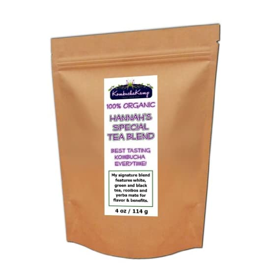 Hannah's Special Premium 5 TEA BLEND 1 100% Organic signature blend of 5 different teas for flavor and benefits 4oz packet - 60 servings The secret proportions have been developed over many years to brew the best tasting Kombucha